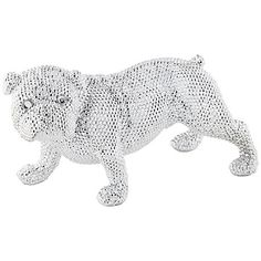 Celebrate your love of dogs and your chic style with this electroplated silver finish standing bulldog statue.