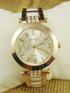 Chic Rhinestone Round Metal Alloy Watch For Women at $48.99  http://www.bboescape.com/products/buy/417/watches/Chic-Rhinestone-Round-Metal-Alloy-Watch-For-Women
