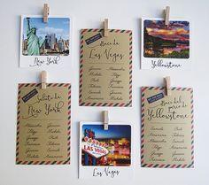 Tableau tema viaggio: cartoncini a cartolina e segnatavoli polaroid