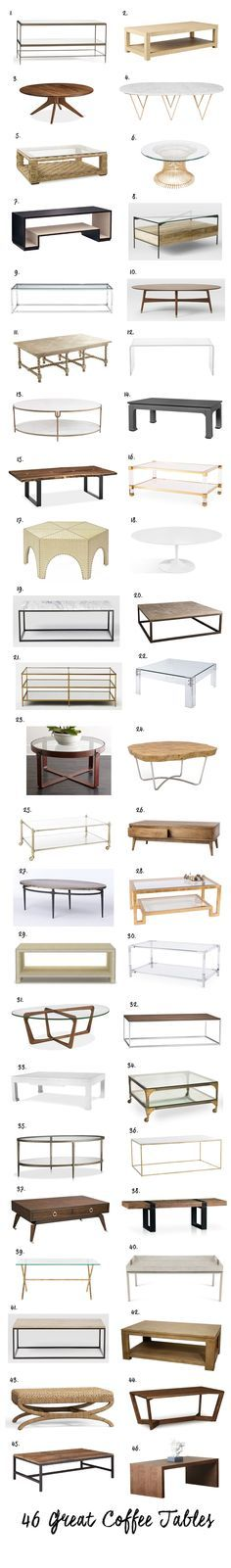 46 Great Coffee Tables. A good coffee table can really make or break your living room- functionally and visually. It has to hold the items you need at hand (remotes, magazines, candles…) but also sometimes serve as a dining table and provide a place for food and drink when …