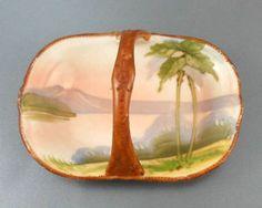 Miniature Antique Nippon Flat Porcelain Handled Basket Palm Trees Lake