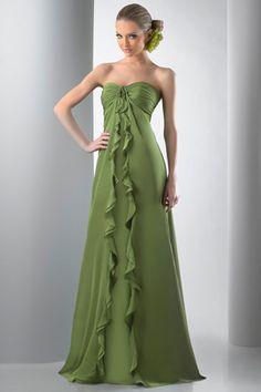 5b77116525 Dark Green Cool Strapless Pleated Split Chiffon Sweep Train Evening Dress  (ED-226). Discount Bridesmaid ...