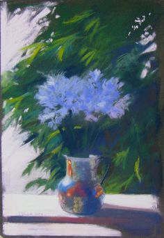 "Artist: Tim Daniels ""Agapanthus"", 2006 Pastel 12 x 8 inches Agapanthus, Pastel, Inspire, Artist, Flowers, Painting, Inspiration, Cake, Biblical Inspiration"