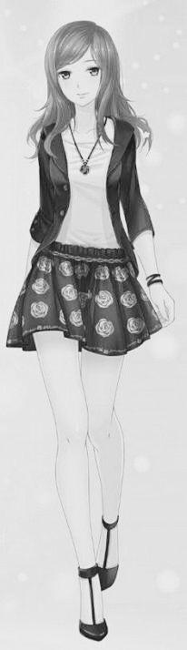 Rossweisse usaba una camisa blanca por dentro combinado con una chaqueta de negro , usaba una falda negra con rosas blancas ademas de estar decorados en los voldes , de accesorios tenia una pulsera en la muñeca izquierda , y un collar , tenia zap...