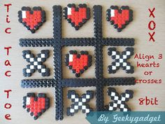 Tic-Tac-Toe hama perler beads by geekygadget Hama Beads Design, Diy Perler Beads, Perler Bead Art, Pearler Beads, Melty Bead Patterns, Hama Beads Patterns, Beading Patterns, Bracelet Patterns, Pixel Art Coeur