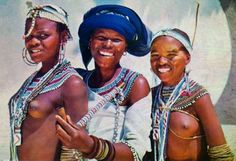 Africa | Xhosa mother with her two daughters.  South Africa || Postcard; ca. 1960s/70s Round Sunglasses, Mirrored Sunglasses, Mens Sunglasses, Xhosa, Two Daughters, African Beauty, African Dress, Afro, South Africa