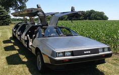 A Delorean limo with three full sets of gull wing doors - http://www.cultofweird.com/transportation/delorean-limo/