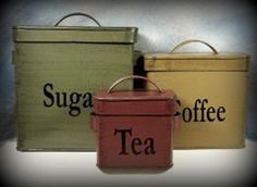 New Country Primitive Style Green Mustard Red CANISTER SET Sugar Coffee Tea