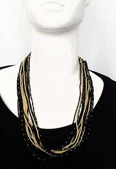 Vintage 20's ART DECO ANTIQUE Jet Glass and Pearl Seed Beaded Mulistrand Necklace w Crystal Fastening