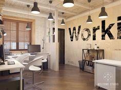 Мастерская дизайна Welcome Studio の インダストリアルな 勉強部屋&オフィス