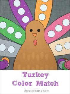 turkey color match for preschool and kindergarten