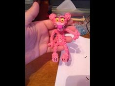 Rainbow Loom PINK PANTHER. Designed and loomed by Yvonne Ambrose. Click photo for YouTube tutorial. 04/16/14.