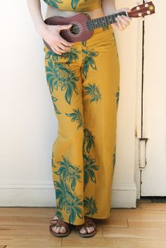 #handprinted #lotus #irishlinen pants. #snoozerloserss14. Style Tip: Wear with your spring leather jacket and clogs.