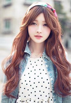 Dreamy, Long Hair With Side Swept Bangs. On The Fashion Time Http: Korean  Hairstyle ...