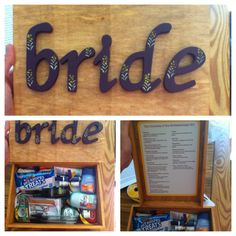 Bride survival kit. Fun and not too hard to make! Very useful on wedding day.