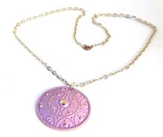 Vintage Western Germany Eloxal Aluminum Necklace Chunky Round Pendant Pink Enamel Lightweight 1940s Signed West Germany #etsy #giftsforher