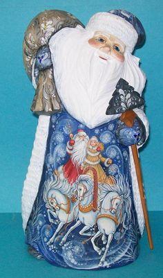 Stunning Handcarved Handpainted Blue White Russian Santa Claus Trioka 1 1   eBay