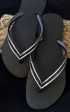 Sophisticate Havaianas Slim Jet Black Swarovski Bling Crystal Flip Flops US 4-11 Rhinestone Sandals Shoes