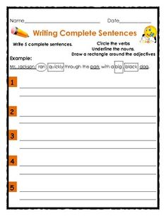 FREE Writing Complete Sentences with Nouns, Verbs and Adjectives