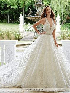 Sophia Tolli - Sleeveless allover lace over sequin ball gown with illusion and lace shoulder straps and plunging V-neckline with illusion panel, lightly hand-beaded sweetheart bodice with sparkling cr