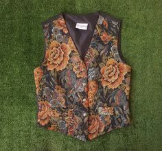 Vintage 90s Floral Waistcoat / Embroidered Roses Vest / Goth / Grunge / Pagan Witchy / Festival Gear / Tapestry / Upholestery by NEONPOINT on Etsy