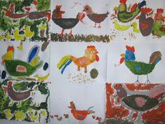 Na dvorku - malování temperovými barvami