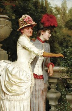 """Charles Joseph Frederic Soulacroix- (french-1825-1879) """"Women on a balcony"""""""