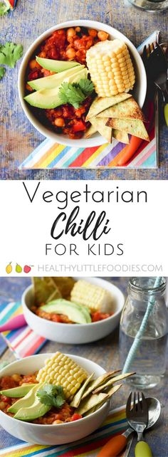 vegetarian chilli for kids. A one pot meal packed with hidden veg. vegan, vegeta… vegetarian chilli for kids. A one pot meal packed with hidden veg. via Healthy Little Foodies Healthy Chicken Recipes, Baby Food Recipes, Healthy Snacks, Vegan Recipes, Dinner Recipes, Healthy Eating, Kid Recipes, Chickpea Recipes, Vegan Meals