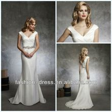 wholesale-Beautiful soft trumpet style has a V-neck draped in silk dupion accented with cap sleeves dresses wedding(China (Mainland))