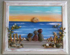 Arte guijarro, roca, guijarro arte par, par de Art Rock, con perro en el océano, playa, amantes de los perros, «abierto» marco 8.5x11 (ENVÍO GRATIS)