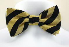 New Black Gold Long Striped Mens Bow Tie Adjust Necktie Tuxedo Wedding Bowtie #TiesJustForYou #BowTie