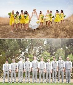 Yellow bridesmaid dresses and gray suits with just vests