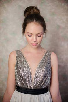 Julia / / Silber paillettenbesetztem, Rückenfreies Hochzeitskleid