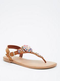 Multi-Color Gemstone T-Strap Sandals (Wide Width), TAN/BEIGE
