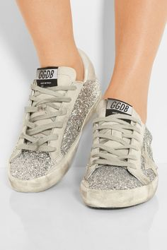 Superstar Distressed Glittered Suede And Leather Sneakers - Silver Golden Goose