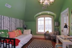 This is just one of the awesome bedrooms of this six bedroom Lake Forest, IL house. We love the contrast of the lime green walls and black and white chevron carpet. Listed for $2,595,000.