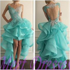 2016 noble blue prom dress lace high low open back prom dresses for teens elegant backless evening gowns