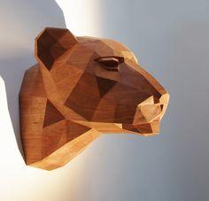 Holzskulptur Leopardenkopf, Kirschholz. Limitiert von Paperwolfs Shop auf DaWanda.com