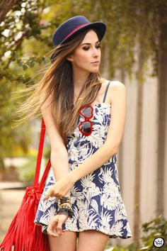 navy blue and red  wearing onna ehrlich bag