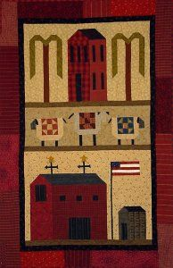 sheep w/quilts - houses - willow trees  Did this one years ago, it hanging in my quilt room