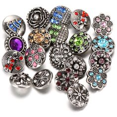 10pcs/lot Snap Jewelry 12MM Snaps Metal Flower Rhinestone Styles Button Ginger Snaps Charms Fit DIY Snap Bracelets Bangles