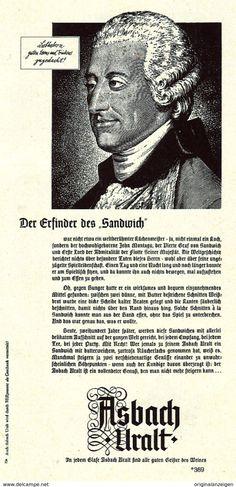 Werbung - Original-Werbung/Anzeige 1961 - JOHN MONTAGU - GRAF VON SANDWICH / ASBACH URALT - ca. 100 x 200 mm