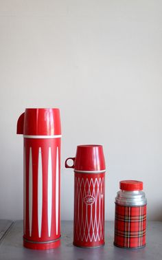 Vintage thermos  These remind me of my dad; he always took a thermos of coffee with him, whether he was headed for the fields or to the steel plant where he worked when not farming!