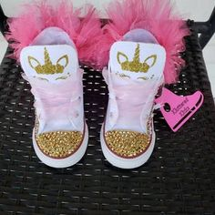 Unicorn Converse w/tutu backing   Etsy Bedazzled Shoes, Bling Sandals, Bling Shoes, Crazy Shoes, Kid Shoes, Girls Shoes, Unicorn Themed Birthday, Baby Girl Birthday, Swimsuits For Tweens