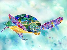 Sea Weed Sea Turtle Painting by Jo Lynch - Sea Weed Sea Turtle Fine Art Prints and Posters for Sale from Fine Art America. Giant Sea Turtle, Sea Turtle Art, Turtle Love, Sea Turtles, Turtles Candy, Baby Turtles, Watercolor Fish, Watercolor Paintings, Watercolors