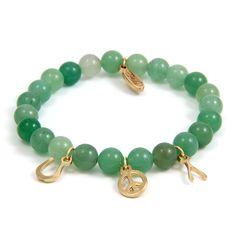 Aventurine Elastic Bracelet with Gold Wishbone, Peace and Horseshoe Charms