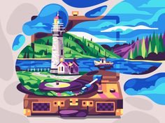 Hello Spring designed by Dmitry Stolz for Beresnev games. Connect with them on Dribbble; the global community for designers and creative professionals. Beach Illustration, Illustration Vector, Landscape Illustration, Vector Art, Hello Spring Wallpaper, Motion Design, Lighthouse, Coloring Books, Coloring Apps