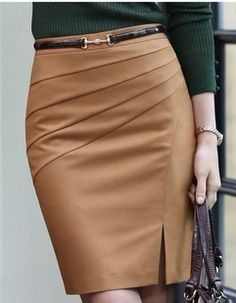 camel color pencil skirt