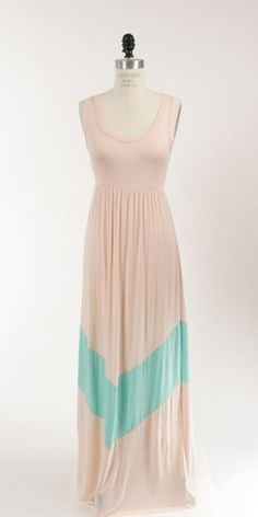 Colorblock Mint Green/ Peach & Coral / Navy Long Tank Chevron Stripe Maxi Dress | eBay