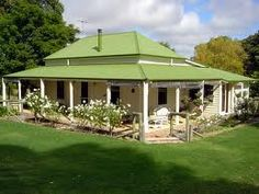 australian cottage, green roof, wrap around verandah, hip roof Cute Cottage, Cottage Style, Exterior House Colors, Exterior Design, Australian Country Houses, Australia House, Australian Architecture, Cottage Homes, Old Houses